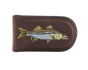 Embroidered Leather Magnetic Money Clip - Snook