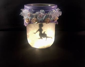 """Light up Fairy in a jar named """"Jenna"""" candle holder"""
