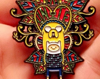 "Adventure Time Jake and Finn Psychedelic UNITE Glittery 2"" Lapel Hat Pin RARE Only 300 Made FREE Shippingl"