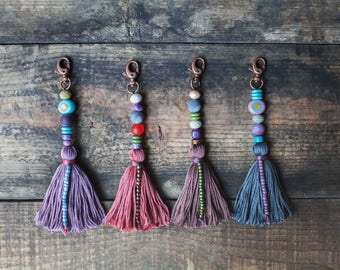 Tassel keychain - bag charm - beaded tassel accessory