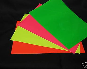 Solid Gloss Sign Vinyl Sheets, Adhesive Coated,  Choose Your Size and Color, NEON Colors