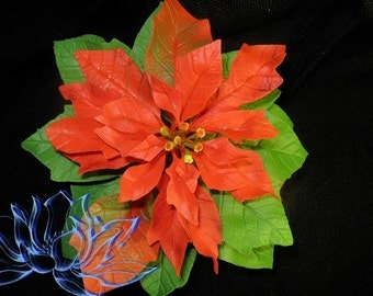 flower, flower poinsettia, Christmas star, poinsettia in flowerpot, handmade flowers, handmade, polymer clay, cold porcelain