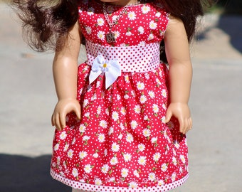 """Daisy and Polka Dot Spring, Summer, Party, to Fit Like American Girl Doll Clothes, 18"""" Dolls Clothes, Birthday, Madame Alexander,"""