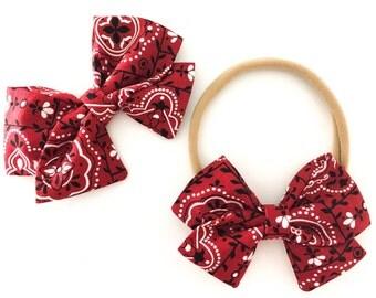 Signature Bow in Bandana - Nylon headband bow - Girls Fabric Bow - Baby Girl Headband - Toddler Bow