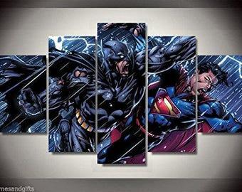 Batman vs superman print poster canvas in 5 pieces