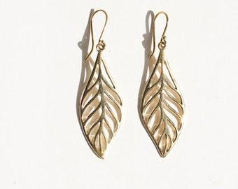 Delicate skeleton of leaf pendants Brass Earring, drop earrings - Boho dangling earrings, yoga jewelry, gift for her, tribal earrings