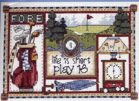 Golfer's Motto Sampler Counted Cross Stitch Kit Model 16721 by Jiffy Sunset Dimensions