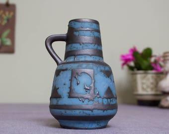 Carstens: Vintage West German Fat Lava Era Ankara Vase in Black and Blue Wax Resist Glaze