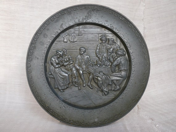 Pewter wall plate for collectors Metal wall decor Decorative