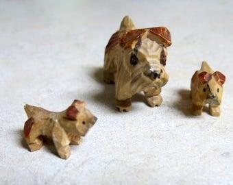 Whittled Wood Scottish Terrier Dog figurine Set