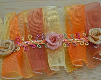 Orange, Yellow and Red Ruffle Rose Trim