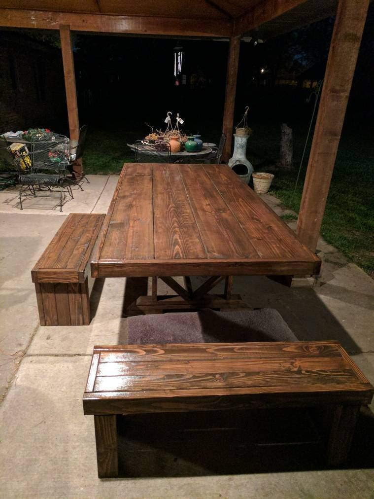 farmhouse indoor outdoor dining room table with bench. Black Bedroom Furniture Sets. Home Design Ideas