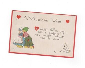 A Valentine Wish. Antique 1914 valentine's day postcard. Vintage collectible greeting card ephemera.