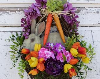Easter Bunny Wreath, Rabbit Wreath, Easter Door Decor, Spring Wreath, Carrot Wreath