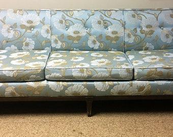 Vintage Mid Century Modern Hollywood Regency Long Sofa in Powder Blue