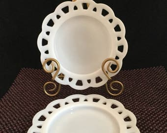 Milk Glass Set of Two Plates Anchor Hocking Old Colony Open Lace