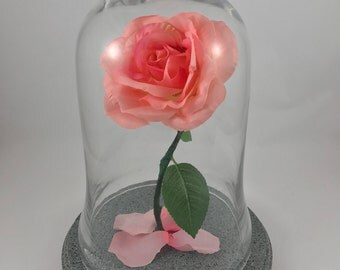 Beauty and the Beast Rose, Enchanted Rose, Beauty and the Beast, Pink Rose, Light Up Rose, Gift for Her, Birthday Gift, Wedding Centerpiece