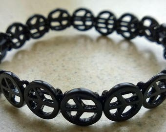 Black Peace Symbol Elasticated Bracelet