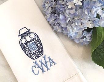 Monogrammed Ginger Jar Tea Towel - Chinoiserie Chic - Pagoda Monogram - Hostess Gift - Bar Cart Style - Housewarming Gift - Monogram Linen