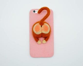 Needle felted monkey butt phone case, wool felt monkey ass phone cover, animals lover, for iPhone 6/7 plus, funny birthday gift