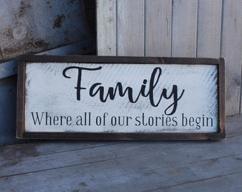 "Family- ""where our story begins"" Handmade Sign"