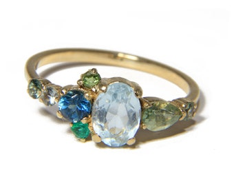 Arrietty Cluster Ring in Sapphire Aquamarine Emerald