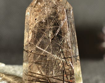 "3.54""Rare Natural Clear Black Tourmaline Rutilated Smokey Quartz Point/ Rutilated Tower Quartz/Rutilated Crystal Tower-90*40*45mm 182g"