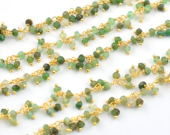 10 Ft Natural Chrysoprase Dangling Wire Wrapped Beaded Chain,Link Chain,Rosary Style Chain,Beaded Necklace Chain,Rosary Chain,Free Shipping