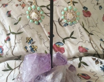 Lavender and rose drop earring