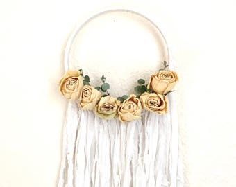 Enchanting Wall Hanging / Dried Flower Wall Hanging / Botanical Dream Catcher / Boho Wall Hanging / Vintage / Gifts for Her / II