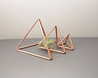 THEA Triangle Trio // Copper Air Plant Holder // Modern Geometric Ornament