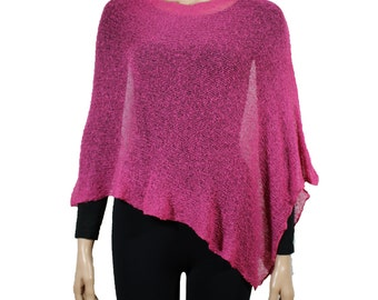 poncho, viscose, knitted, casual stola, rose