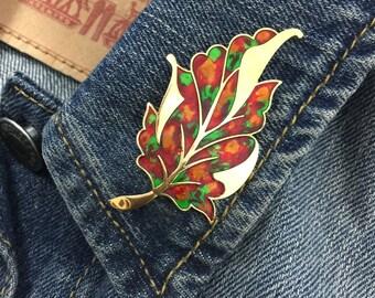 Vintage colorful Leaf brooch (stock# 751)