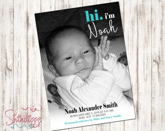 Birth Announcement, Baby Annoucement, New Baby Announcement,