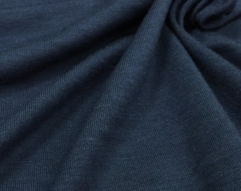 Jersey Knit Fabric With Spandex (Wholesale Price Available By The Bolt) USA Made Premium Quality - 3107 Navy - 1 Yard