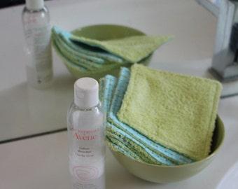 Lingettes réutilisables pour le change de bébé ou pour se démaquiller (lot de 6) avec leur filet de lavage assorti