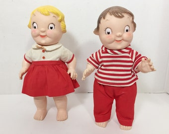 Vintage Campbell Kids Dolls - Pair of Vinyl Dolls with Clothes - Advertising Memorabilia - Boy and Girl - Seventies Toys - Campbell Soup