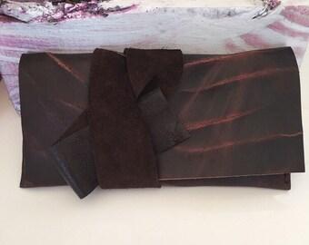 Dark Brown Leather Tie Clutch, Leather Case