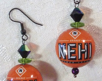 Earrings: Vintage NEHI Bottle Cap Beads with Jet AB and Astral Pink Swarovski Crystals, Green and Jet Czech Glass, Metallic Purple Hematite