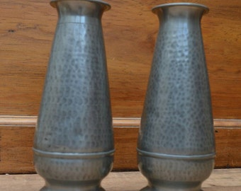 Abbey hand hammered Pewter pair of vase