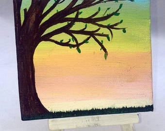 GROW, Pastel Sky Tree - Small Art Painting with Desktop Easel, 4 x 4 inch