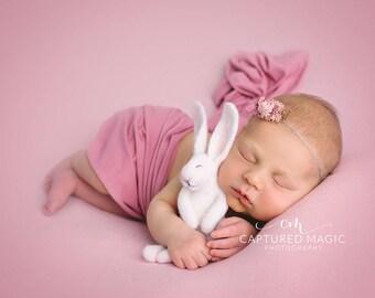 Newborn baby photo prop, photo prop, The Woolly Cradle, needle felted rabbit, sleepy bunny, sleeping rabbit, Woolly Felters, Judy Balchin