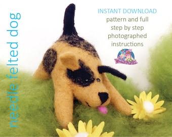 Needle felted dog tutorial, needle felting, needle felted animal, felt sculpture, dog sculpture, needle felting dog pattern, beginners