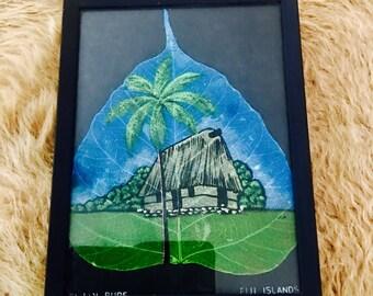 Vintage Hand Painted Leaf Fiji Tropical Decor
