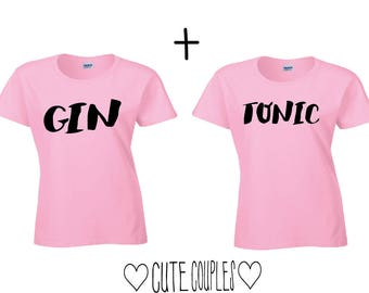 Gin Tonic couple shirts - friends, couple, Girs, drinks, summer, tops, couple clothing, couple sweaters, couple, Gin Tonic, pink,.