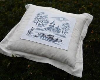 Декоративная подушка. Decorative pillow. 100% cotton. Cross-stitch.