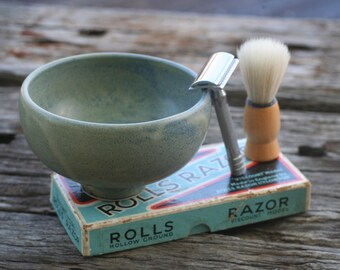 Ceramic shaving bowl - handmade pottery, blue