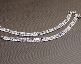 Barefoot anklets | Ethnic jewelry anklets | Wedding wear anklets | Silver plated large anklets | Hand crafted jewelry | Birthday gift | A100