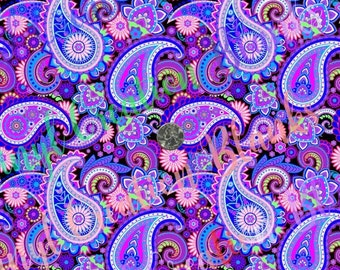 Multi Color Paisley Pattern Vinyl, HTV and Outdoor Vinyl, Paisley HTV, Purple Paisley, Pink Paisley
