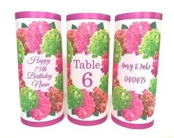 Table numbers,  Luminaries , Table decor, Wedding table centerpiece,  hydrangea decor, hydrangea wedding,  wedding decor, hydrangea candle